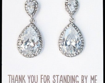 Bridesmaid Earrings, Crystal Drop Earrings, Mother of the Groom Earrings, Bridesmaid Gift, Silver Teardrop Earrings Gift, Drop Earrings E257