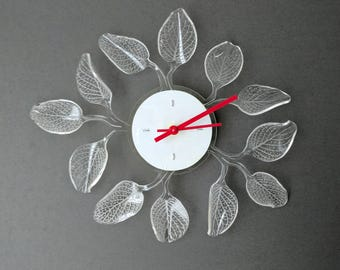 Modern Wall Clock, Unique Wall Clock, Kids Room Wall Art, Leaf Wall Clock, Unique Wall Art, Living Room Clock, Kitchen Clock, Silent Clock
