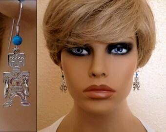 Vintage Kachina Earrings, Fred Harvey Era, White Copper, Faux Turquoise, WMCo Wheeler Mfg Co, Boho Southwestern Western Wear, ID 493074871