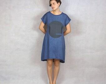 High Low Dress / Blue Dress / Summer Dress / Silk screen print / T shirt Dress / Women's clothing