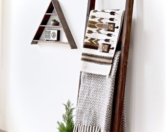 Blanket Ladder | Rustic Wood Quilt Ladder | Dark Walnut Stained | Towel Hanger | Living Room Decor | Bathroom Decor