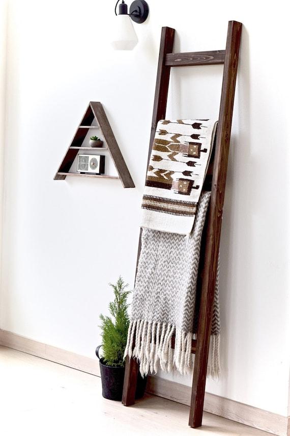 Blanket Ladder | Rustic Wood Quilt Ladder | Dark Walnut Stained | Towel Hanger | Living Room Decor | Bathroom Decor