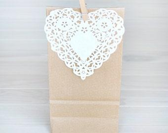 Kraft Favor Bag + Heart Lace Paper Doily + wooden clothespins