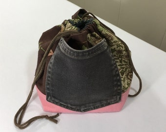 Project Bag, Drawstring style, Brown and Pink/Green, from Upcycled jeans & Upholstery fabric samples