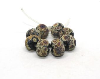 Set 8 Lava Donut Beads, 10 mm x 14 mm, Black Raku Multi Colour, Matte Round Beads, Opaque Handmade Lampwork Glass Beads, Organic Beads
