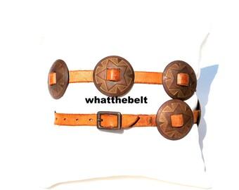 Vintage Belt Tan Brown Leather with Conchos SOuthwestern Western Belt