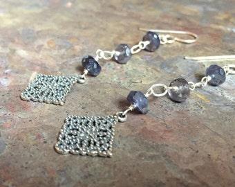 Iolite gemstone silver dangle earrings