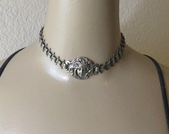 Antique Silver Art Nouveau Choker Necklace 1900's