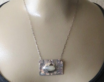 Vintage Sterling Studio Modernist Moonstone Necklace Pendant.