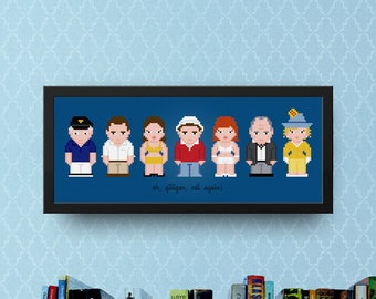 Gilligan's Island Cross Stitch Pattern Modern | TV Show Cast Cross Stitch Chart | Best Cross Stitch, Pixel Cross Stitch, People Cross Stitch