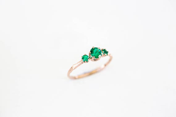 14k rose gold three stone emerald engagement ring, Chatham emerald engagement ring, three stone twig engagement ring, twig engagement ring