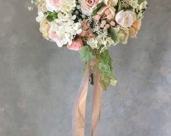 SILK rosesTwo piece WEDDING FLOWERS  bridal bouquet and boutonniere