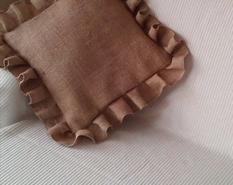 Burlap Pillow Cover with ruffle - Burlap Pillow Cover - Burlap Cushion Cover - Rustic Cushion Cover - Set of 2 - Choose size