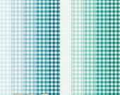 "Digital Printable Scrapbook Craft Paper - Gingham in Teal Shades - Plaid Tartan Turquoise Aqua Blue Green - 12 x 12"" - PU/CU Commercial Use"