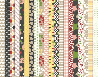 """Digital Printable Scrapbook Craft Paper - Meet Cute - Love Hearts Gingham Florals Black Yellow Pink Red - 12 x 12"""" - PU/CU Commercial Use"""