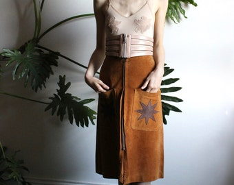 70s Suede Star Skirt