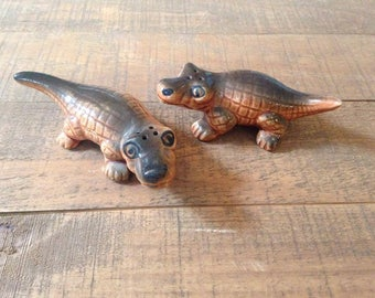 Alligator Salt and Pepper Shakers, Gator Salt and Pepper Shakers, Collectible Kitchen