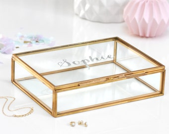 Glass Jewellery Box, Personalized Jewelry Box, Wedding Keepsake Box, Trinket box, Bridesmaid Gift, Rectangular Glass Keepsake Box With Name
