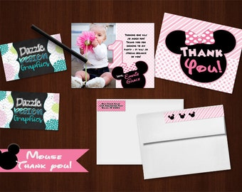 Mouse THANK YOU card | M2M made to match, coordinating | mouse ears bow pink polka dots and stripes | #046 Prints flat or folded
