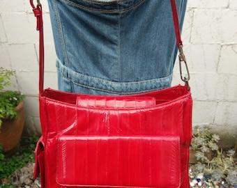 1980s Red Eelskin Bag Satchel Tote Handbag Vintage Eel Skin Purse Glam 80s Lee Sands