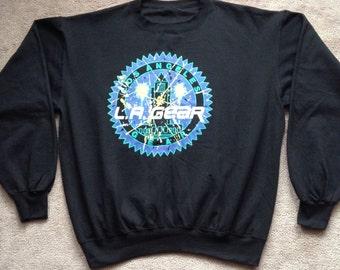90's LA Gear Hip Hop crew neck sweater DEADSTOCK 100% cotton pullover knit Long Sleeve  men's Large in Black