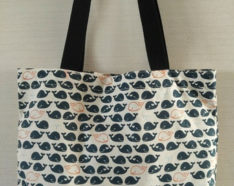 Dolphin printed cotton tote bag / Light weight cotton fabric used / Long straps