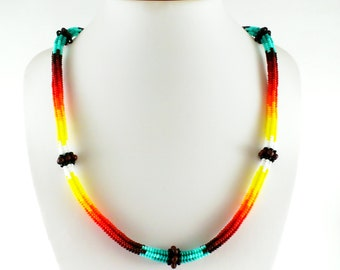 Beaded necklace Statement necklace Delicate necklace Tribal necklace Layering necklace Everyday necklace Summer necklace Fashion jewelry