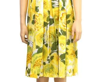 Floral Dress, Women's Dress, Flower Dress, Gift For Her, Vintage Dress, Yellow Rose Dress, Vintage 1990s, Trina Turk Dress, Spring Fashion