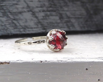 Rose Cut Garnet Ring, AAA Garnet Gemstone, Natural Red Stone, Jewelry Under 30, Adjustable Sterling Silver Ring, January Birthstone Gift
