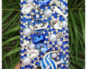 Anchor Starfish Blue Bedazzled Bling Nautical Phone Case, iPhone Samsung Ocean Rhinestone Cover, Lake life womens gift
