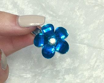 Small Blue Crystal Flower Hair Clip Barette,
