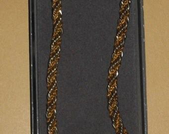 Vintage Gold Silver Tone Necklace Braided Rope Chain Bellissima Choice Mint in Box 1960s