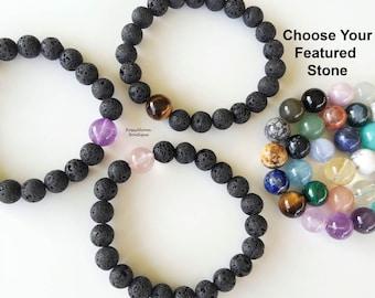 Beaded Bracelet-Lava Stone Bracelet-Lava Bead Bracelet-Lava Bracelet-Lava Rock Bracelet-Aromatherapy Bracelet-Essential Oil Diffuser
