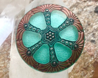 Large Hand Painted Czech Glass Button - 42 mm - Mint Green, with Copper, Silver and Black