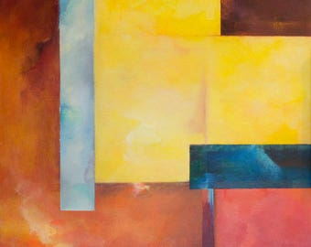 Abstract Geometric Painting with Vibrant Color
