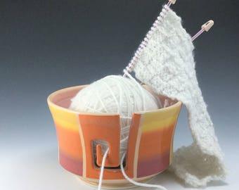 Large Yarn Bowl, Ceramic Yarn Bowl, Porcelain Knitting Bowl, Orange Ombré Yarn Bowl, Ceramic Yarn Holder, Wheel Thrown Pottery Yarn Bowl