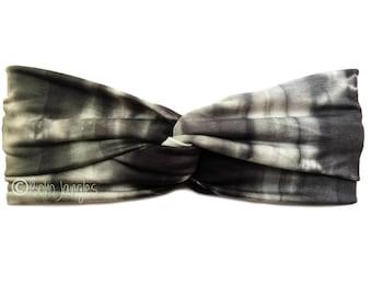 Black + White Tie-Dye Turban, Elastic Hair Band, Twist Hairbands, Stretchy Turban Headband, Boho Headbands, Yoga Headband, Running Hairband
