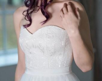 Heather - bridal corset / sweetheart neckline corset / corset top / velvet bridal top / off white white corset / bridal separates