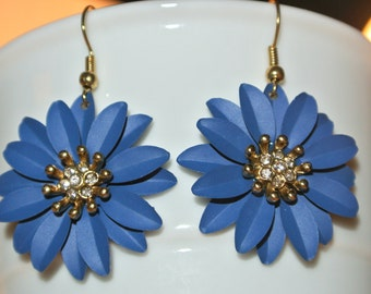 Royal Blue and Gold Flower Earrings