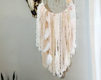 Blush Pink Dream Catcher, Dreamcatcher, Tapestry, Pink and Gold Baby Shower, Girl Nursery Decor, Wall Hanging, Boho Decor, Pink and White