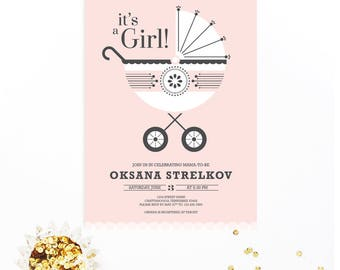It's a Girl! Blush Baby Carriage or Pram Modern Baby Shower Invitation   DIY Printable Digital File