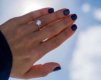 Engagement Ring 2.49 Carat DIAMOND Engagement Ring Round Brilliant Cut 14K White Gold FREE SHIPPING