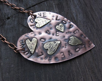 Mixed Metal Statement Brass Copper Heart Necklace Romantic Love Necklace Boho Wedding Rustic Earthy Pendant birthday gift for her for mom