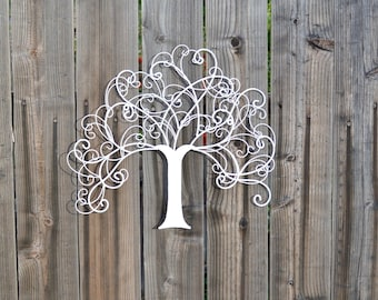 Tree of Life. Metal Tree Wall Decor. Tree Decor. Metal Decor. Wall Decor. Metal Wall Decor. White Decor. Tree Sign. Tree Wall Decor.