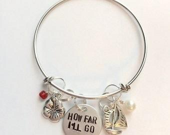 "Disney Moana Inspired Hand-Stamped Bangle Bracelet - ""How Far I'll Go"""