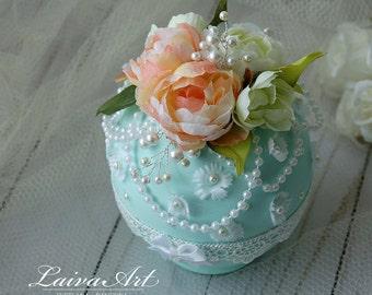 Wedding Ring Bearer Box Beach Wedding Mint Wedding Vintage Wedding  Ring Holder