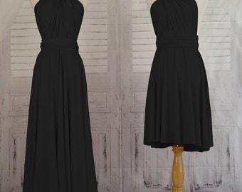 Black Infinity Dress Convertible Formal,wrap dress ,bridesmaid dress,party dress Evening dress-B19#C19#