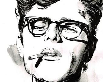 James Dean portrait original ink drawing