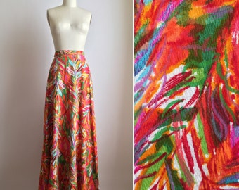 60s maxi skirt S/M ~ vintage abstract print skirt