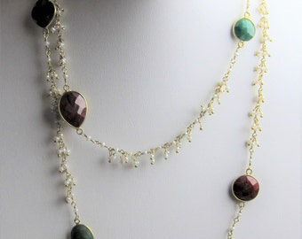 Pearl, Ruby, Emerald, Sapphire Vermeil Gold Plated Wire Wrapped Long Necklace